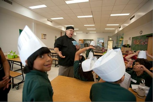 As part of The Academy for Global Citizenship's participation in Chefs Move to Schools, Chicago Chef Duenas of Cathedral Café talked to third graders about good nutrition choices.