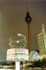 Alexanderplatz Berlin (michael_hamburg69) Tags: berlin clock alex night analog germany square deutschland bynight scan alexanderplatz fernsehturm 1998 mitte urania televisiontower uhr berlinmitte weltzeituhr