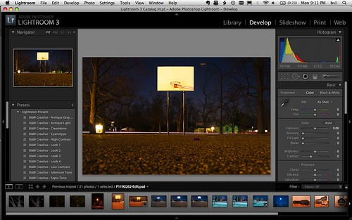 working in Adobe Lightroom 3