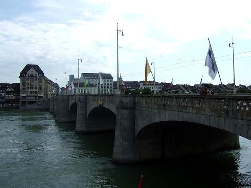 Mittlere Brücke, Basel crossing the river Rhine