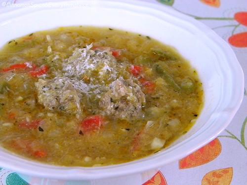 Spaghetti Squash and Mini Meatball Soup