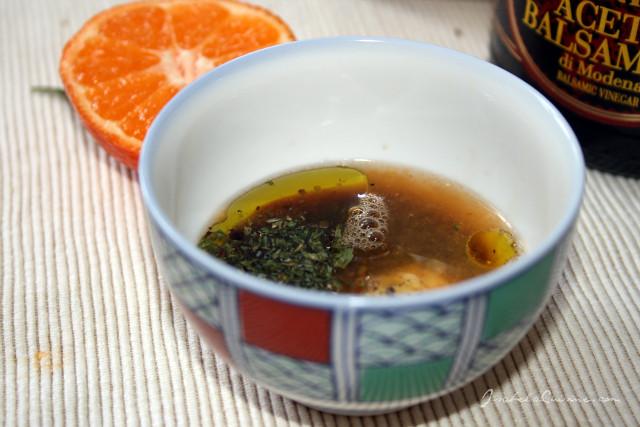 Lentil salad with balsamic vinegar and mandarin