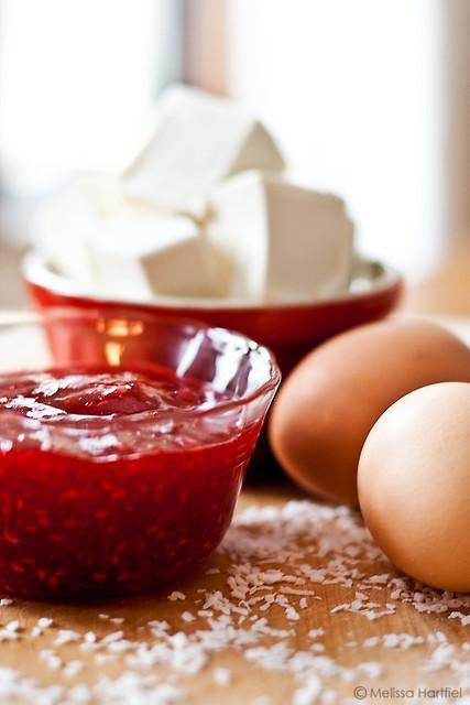 Raspberry Jam, eggs and cream cheese