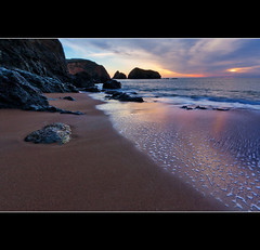 Nature's Palette (PrevailingConditions) Tags: ocean california ca sunset color beach water clouds sand rocks bayarea