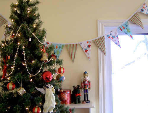 Christmas Fabric Bunting with Christmas Tree
