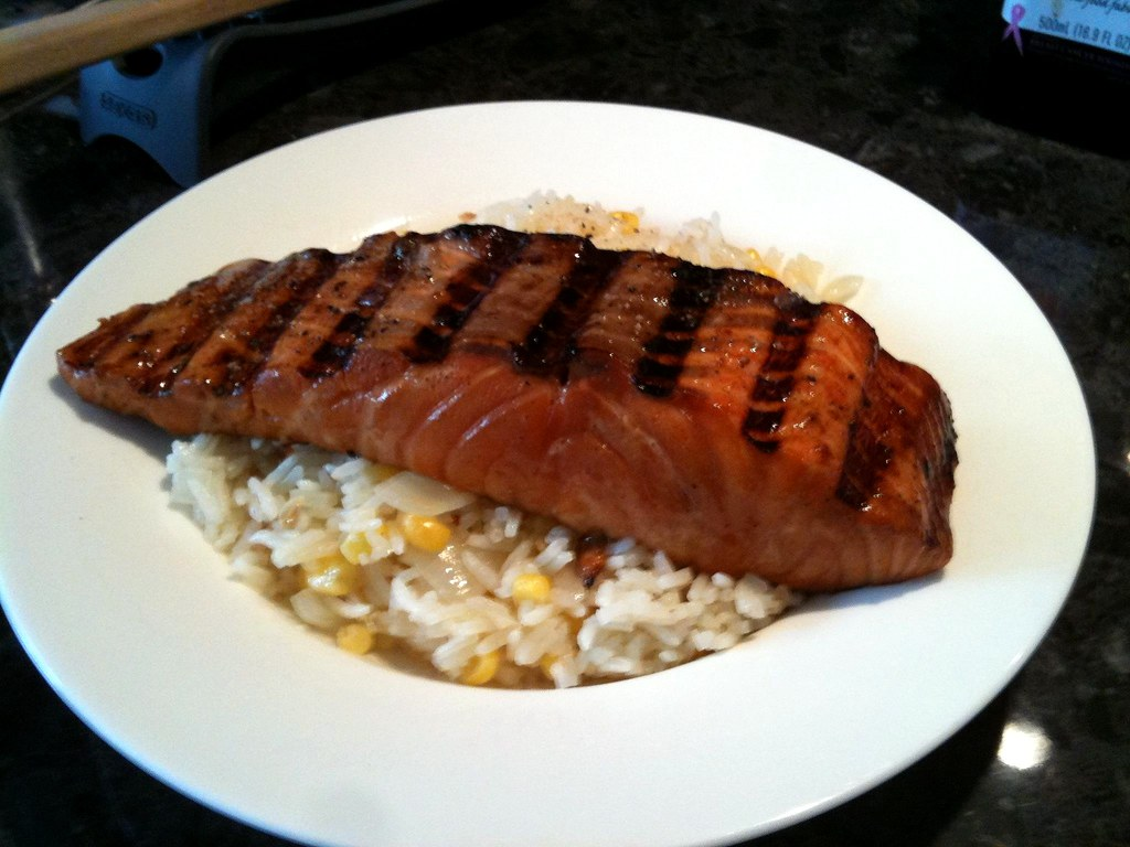 BBQ Salmon & Onion Rice