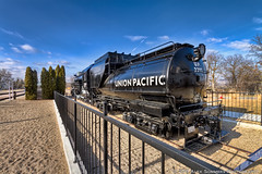 Union Pacific Locomotive at the Boise Train Depot (www.alexsommersphotography.com) Tags: blue sky black detail clouds train photoshop canon fence eos angle id tripod tracks engine rail idaho boise 7d depot unionpacific locomotive usm dslr efs hdr 1022 carbonfiber manfrotto topaz superwide photomatix cs5 f354 httpwwwalexsommersphotographycom