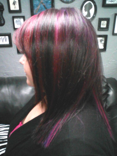 IN THE FRONT I FADED THE COLOR FROM PINK TO PURPLE FROM FRONT TO BACK.
