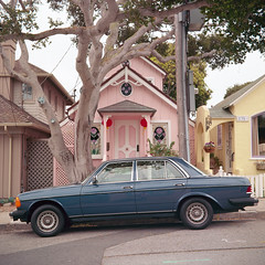 (m. wriston) Tags: california pink houses color film car vintage mediumformat square suburbia negative pacificgrove superricohflex c41 montereypeninsula autaut kodakektar100