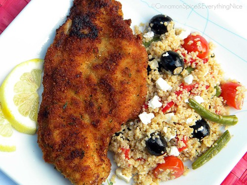 Lemon Chicken Milanese with Couscous Salad