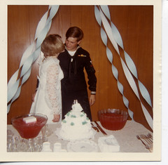 Join us for punch and cake (Awkward Boy Hero) Tags: wedding cake oregon portland groom bride northwest lace punch sailor oldphotos vintagephotos foundphotos caketoppers antiquephotos somanyuniquetreasures exceptmaybenotoregon awkwardboyhero