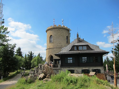 Top of Mt. Klet with 19th-century stone observatory.