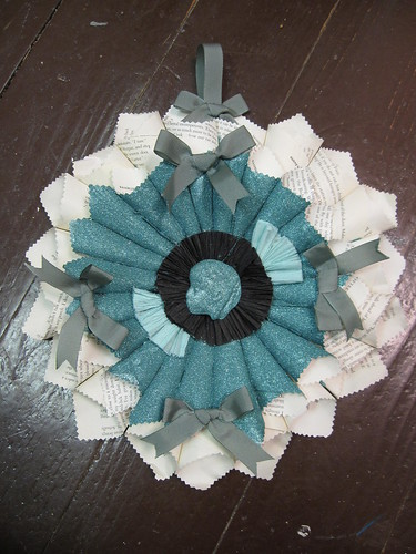 Vintage Paper Rosette: Blue Belle!