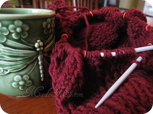 knitting on circular needles and coffee