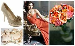 Wedding Color Inspiration: Orange + Champagne Gold (Nina Renee Designs) Tags: flowers orange modern gold shoes champagne clutch bouquet bridemaids