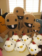 Sackboys and Eggies (Ami Amour) Tags: crochet chick plush amigurumi littlebigplanet sackboy