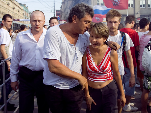 """Yevgeniya Chirikova, leader of """"Protect Khimki forest"""" movement (R) and Russian opposition leader Boris Nemtsov in Moscow on Triumfalnaya square on opposition action for freedom of meetings"""