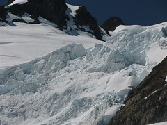 Climber Descending from Crystal Pass - above icefall