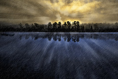Daybreak (Billy Wilson Photography) Tags: trees light usa mist ontario canada reflection nature water rain fog digital photoshop sunrise canon river landscape outdoors eos rebel unitedstates michigan glory edited horizon kitlens manipulation surface steam holy layers acr colourful xs portfolio soo northern tutorial saultstemarie lightrays cs4 chippewacounty sugarisland billywilson saintmarysriver saultphotographer fineparticulatemater