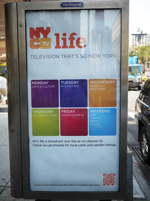 noticed NYC TV Life using QR Code on bus stop billboard #walkingtoworktoday