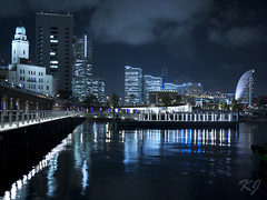 Minatomirai at Night (Kevin Jungnitsch) Tags: longexposure blue water colors japan skyline night port panasonic yokohama pancake 20mm mm21 minatomirai f17 gf1 flickraward