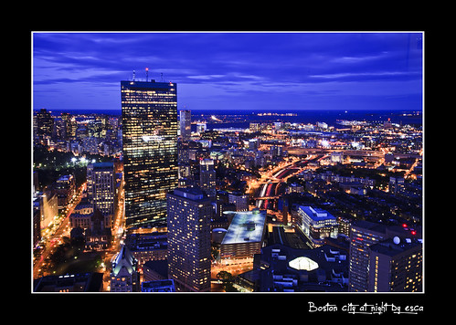 Boston city at night