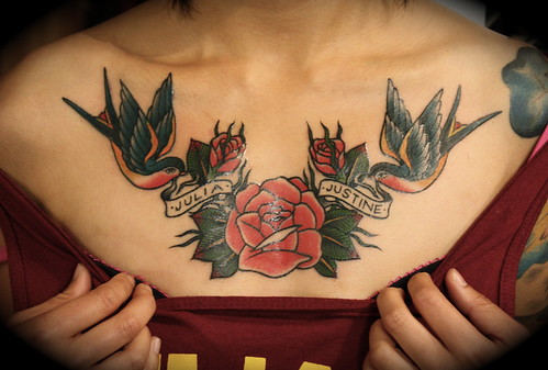 Rose and Swallows chest piece