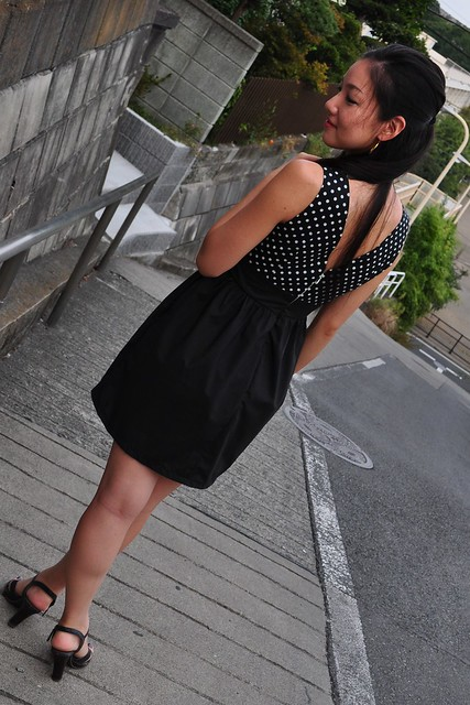 polka dot back v dress 1