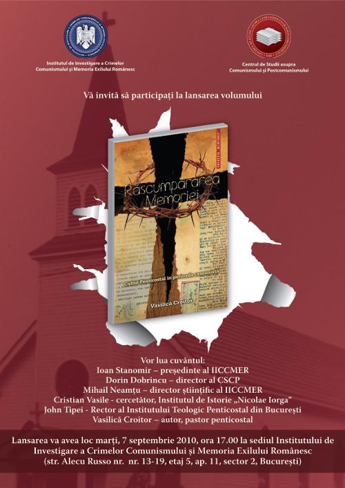 """7 septembrie 2010 - Lansarea cărții """"Răscumpărarea memoriei"""""""