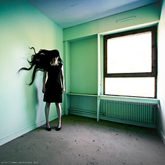 Medusa (never ends) Tags: blue light woman green window photomanipulation hair decay pastel femme digitalart vert bleu urbanexploration demon piece medusa daemon salle fenetre wasteland blackdress blackshoes urbex cheveux meduse friche robenoire explorationurbaine pur simplity chaussuresnoires