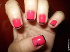 Francesinha Pink & Black - mão esquerda (Lylah Moussa) Tags: pink rock rosa preto colorida unha risqué charmosa esmalte colorama penélope francesinha cremoso cintilante perolado vigarista