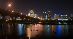 Downtown Richmond from the flood wall (Ty Johnson Photography) Tags: city bridge reflection colors skyline night river manchester james nikon long exposure richmond floodwall d90