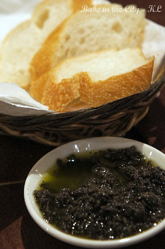 Bread served with tapenade