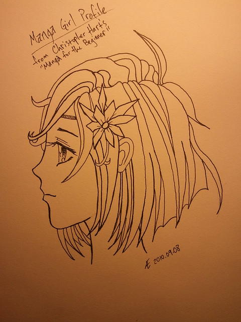 Manga Girl Profile - Step 6 - Final Ink