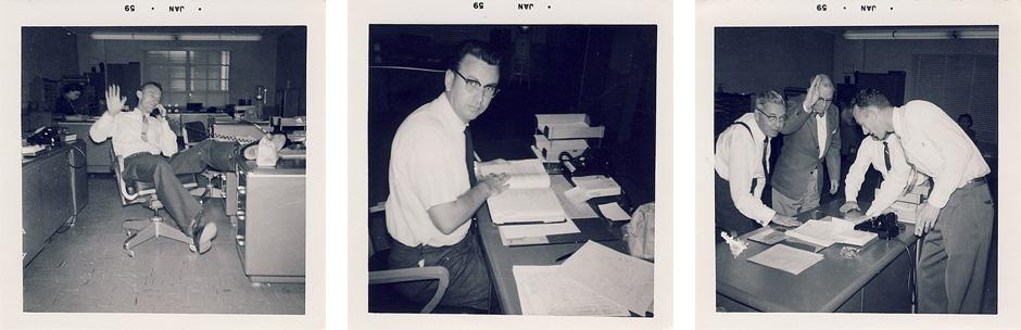 Fotografías de unos trabajadores de oficina americanos en los años 50