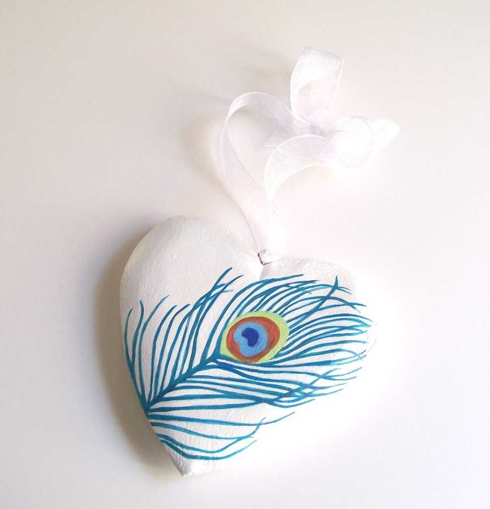 Peacock feather - hand-painted wood heart ornamnet