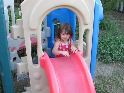 There went Belle...down the slide