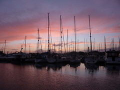 Sunset of Lyminton harbour (allispossible.org.uk) Tags: pink sunset sea reflection water night clouds boats harbor lads harbour romantic dreamy ripples mast rippled yachts masts atmospheric lymington onthetown sailingboats