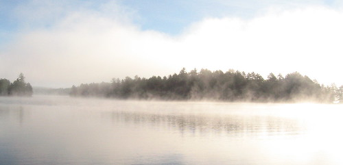 Mist on the lake at the cottage