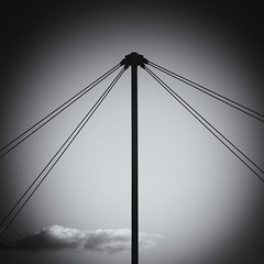 Tension (Villi.Ingi) Tags: sky bw lines sepia clouds composition canon dark square scotland wire centre central pole forms form connected middle toned vignette tone connection circular connections selenium 40d