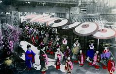 Tayuu Douchuu 1909 (Blue Ruin 1) Tags: japan children kyoto child parade colored kimono obi umbrellas tinted 1900s parasols flowercart shimabara kanzashi meijiperiod oiran tayu tayuu dochu kamuro kainokuchi handcolouredpostcard japanesecourtesans