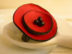 leather flower ring 2 (marthha) Tags: flower leather handmade felt rings resin jewels egst leatherflowerring marthha