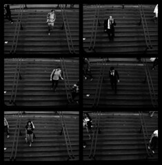 marches (c'estlavie!) Tags: street girls people urban bw paris france men girl female stairs subway nikon women stair phone noiretblanc metro candid femme mtro streetphotography rue escalier homme handrails iphone parisienne rapt parisunderground phoning placedelopra flickraward