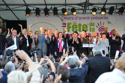 Ségolène Royal et son équipe le 18 septembre 2010 à Arcueil.