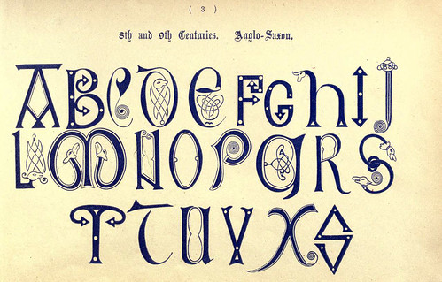 011- Siglos VIII y IX anglosajon- The book of ornamental alphabets, ancient and mediaeval..1914-F. Delamotte