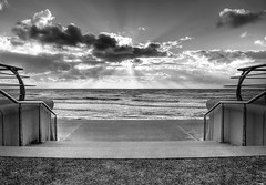 Blackpool(2),UK (Hazeldon73- catching up !) Tags: uk sea sky white black beach contrast mono seaside steps dramatic lancashire resort prom promenade sunrays blackpool hdr handrails platinumphoto