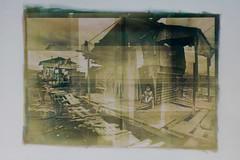 Paradise Village - gumover cyanotype (dingedangedonge) Tags: monochrome philippines manila pinoy slum cyanotype altprocess gumover digitalnegtive