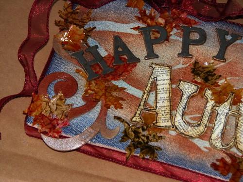 Happy Autumn Plaque - Distressed Brown Bag Glaze Technique 013