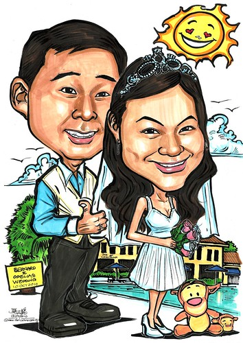 wedding couple caricatures @ The Chevrons A3