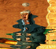Water art: ... move over Picasso :-) (peggyhr) Tags: blue roof friends chimney brown white lake canada man reflection water yellow dock gallery searchthebest huntergreen alberta blogged ripples ochre flipped coveralls facia 25faves superaplus aplusphoto peggyhr bluebirdestates postthebest p1110355g pablopicassoaward